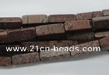 CCU508 15.5 inches 4*13mm cuboid red artistic jasper beads wholesale