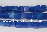 CCU51 15.5 inches 6*6mm cube dyed white jade beads wholesale