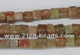 CCU52 15.5 inches 6*6mm cube New unakite beads wholesale