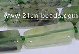 CCU606 15.5 inches 8*20mm - 10*30mm cuboid green rutilated quartz beads
