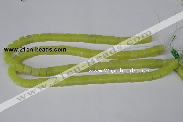 CCU64 15.5 inches 8*8mm cube olive jade beads wholesale