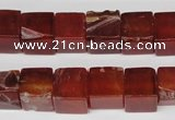 CCU70 15.5 inches 10*10mm cube red agate beads wholesale