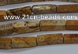 CCU738 15.5 inches 4*13mm cuboid picture jasper beads wholesale