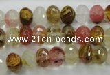 CCY402 15.5 inches 7*10mm faceted rondelle volcano cherry quartz beads