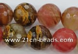 CCY508 15.5 inches 20mm faceted round volcano cherry quartz beads