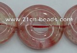 CCY56 15.5 inches 30mm donut cherry quartz beads wholesale