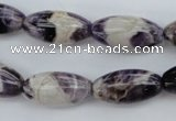 CDA25 15.5 inches 10*20mm rice dogtooth amethyst beads