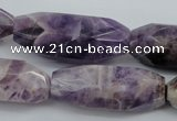 CDA30 15.5 inches 15*38mm � 16*40mm faceted rice dogtooth amethyst beads