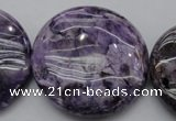 CDA318 15.5 inches 40mm flat round dyed dogtooth amethyst beads