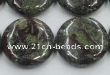 CDB210 15.5 inches 25mm flat round natural dragon blood jasper beads