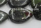 CDB219 15.5 inches 22*30mm flat teardrop natural dragon blood jasper beads
