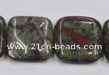 CDB222 15.5 inches 25*25mm square natural dragon blood jasper beads