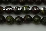 CDB310 15.5 inches 4mm faceted round dragon blood jasper beads