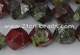 CDB339 15.5 inches 12mm faceted nuggets dragon blood jasper beads
