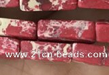 CDE1486 15.5 inches 4*13mm cuboid synthetic sea sediment jasper beads