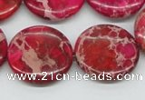 CDE18 15.5 inches 25mm flat round dyed sea sediment jasper beads