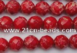 CDE2120 15.5 inches 6mm faceted round dyed sea sediment jasper beads