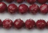 CDE2133 15.5 inches 12mm faceted round dyed sea sediment jasper beads