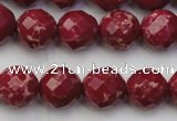 CDE2134 15.5 inches 14mm faceted round dyed sea sediment jasper beads