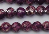 CDE2142 15.5 inches 10mm faceted round dyed sea sediment jasper beads