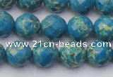 CDE2162 15.5 inches 10mm faceted round dyed sea sediment jasper beads