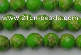 CDE2181 15.5 inches 8mm faceted round dyed sea sediment jasper beads