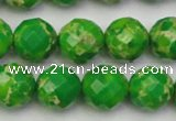 CDE2193 15.5 inches 12mm faceted round dyed sea sediment jasper beads