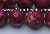 CDE2524 15.5 inches 20mm faceted round dyed sea sediment jasper beads