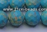 CDE2544 15.5 inches 18mm faceted round dyed sea sediment jasper beads
