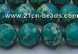 CDE2564 15.5 inches 14mm faceted round dyed sea sediment jasper beads