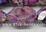 CDE41 15.5 inches 25*35mm faceted nuggets dyed sea sediment jasper beads