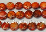 CDE516 15.5 inches 10mm flat round dyed sea sediment jasper beads