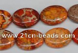 CDE532 15.5 inches 15*20mm oval dyed sea sediment jasper beads