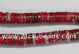 CDE601 15.5 inches 2*8mm heishi dyed sea sediment jasper beads