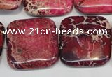 CDE626 15.5 inches 25*25mm square dyed sea sediment jasper beads