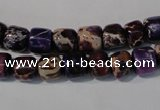 CDE705 15.5 inches 6*8mm nuggets dyed sea sediment jasper beads