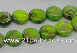 CDE91 15.5 inches 12mm flat round dyed sea sediment jasper beads