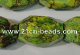 CDE933 15.5 inches 19*30mm faceted nuggets dyed sea sediment jasper beads