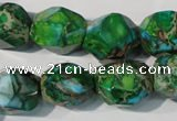CDE964 15.5 inches 14*17mm faceted nuggets dyed sea sediment jasper beads