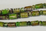 CDI142 15.5 inches 3*6mm rondelle & 6*9mm tube dyed imperial jasper beads