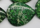 CDI195 15.5 inches 30*40mm flat teardrop dyed imperial jasper beads