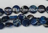 CDI230 15.5 inches 10mm flat round dyed imperial jasper beads