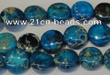 CDI305 15.5 inches 12mm flat round dyed imperial jasper beads