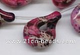 CDI43 16 inches 22*35mm petal shaped dyed imperial jasper beads