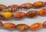 CDI510 15.5 inches 8*16mm rice dyed imperial jasper beads
