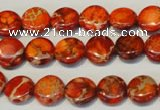 CDI516 15.5 inches 10mm flat round dyed imperial jasper beads