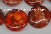 CDI522 15.5 inches 25mm flat round dyed imperial jasper beads
