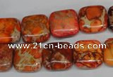 CDI540 15.5 inches 14*14mm square dyed imperial jasper beads