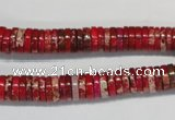 CDI601 15.5 inches 2*8mm heishi dyed imperial jasper beads