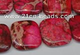 CDI625 15.5 inches 20*20mm square dyed imperial jasper beads
